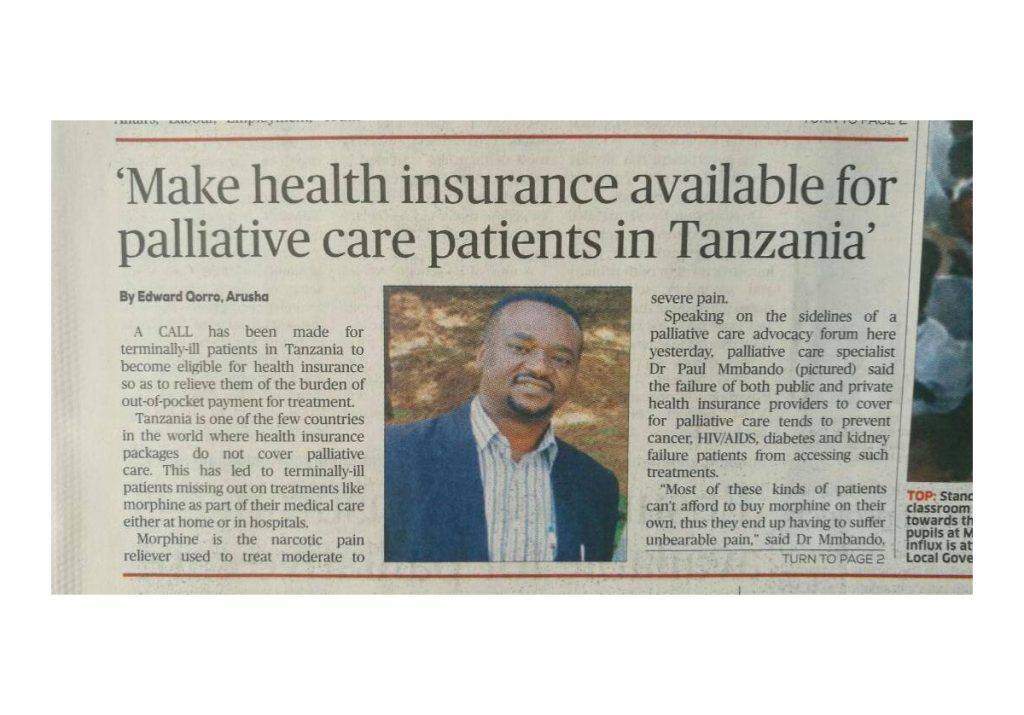 Breaking News from Tanzania:Demand for the inclusion of palliative care in public and private health insurance packages
