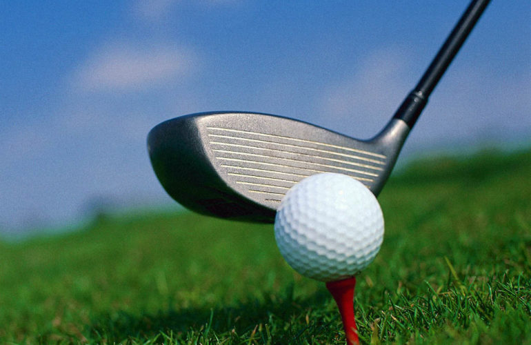 Driving the golf ball for Nyeri Hospice