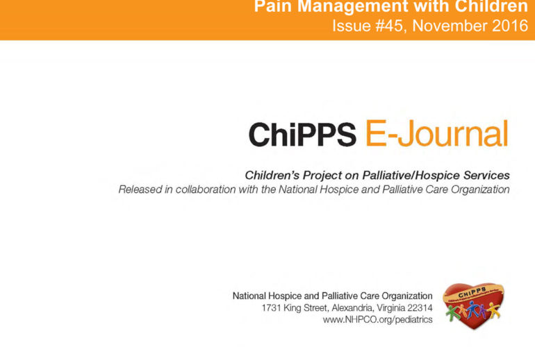 Latest ChiPPS E-Journal focuses on managing children's pain