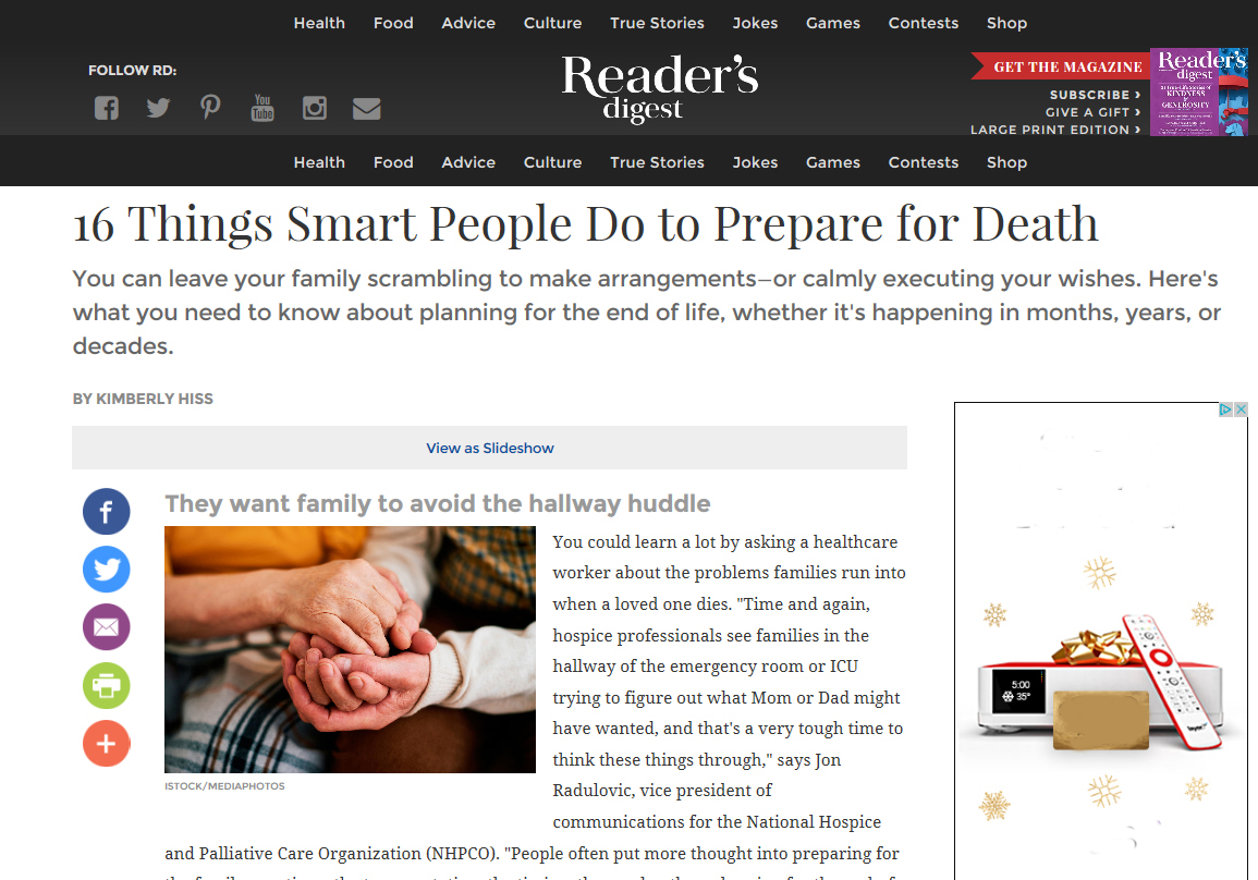 Preparing for death: Reader's Digest offers advice