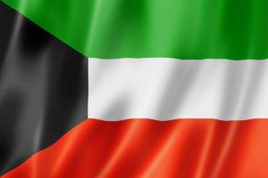 Kuwait flag, three dimensional render, satin texture