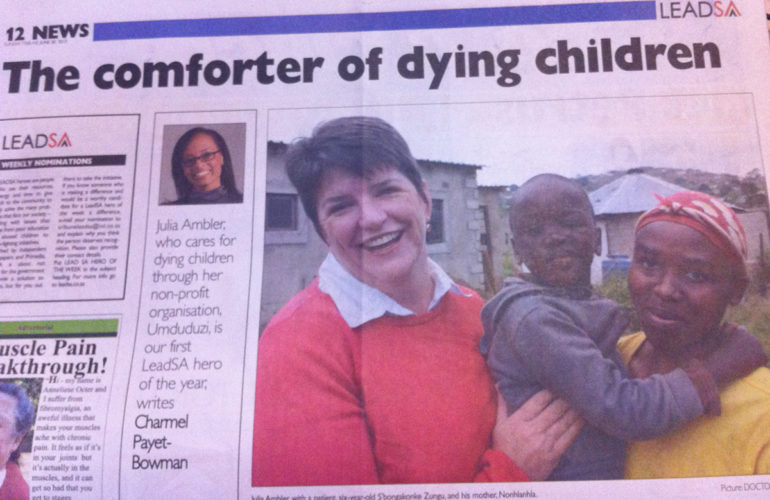Dr Julia Ambler of Umduduzi wins the Sunday Tribune Lead SA Hero of the Year Award
