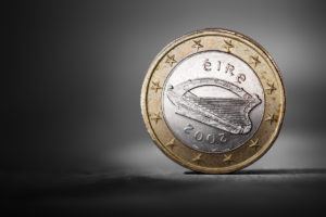 Irish one euro coin showing the national backside. Short depth-of-field.