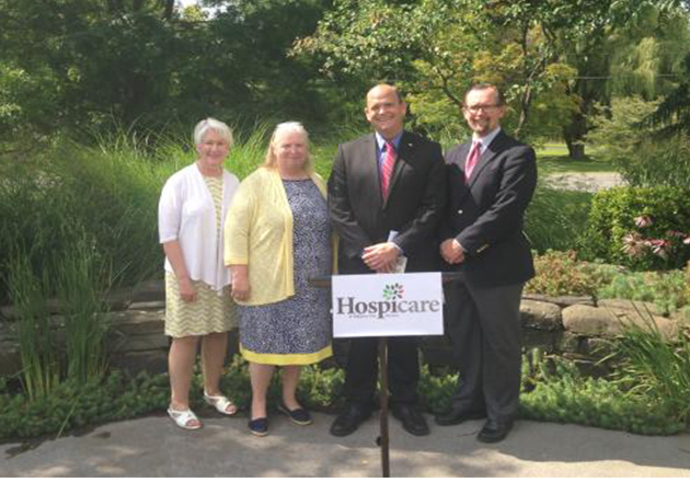 Congressman Tom Reed in Ithaca to promote hospice care.