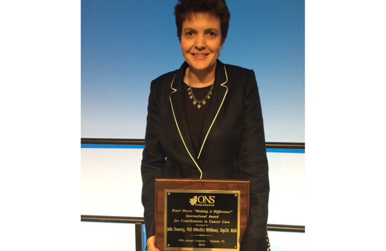 """Pearl Moore """"Making a Difference"""" award for Prof Julia Downing"""