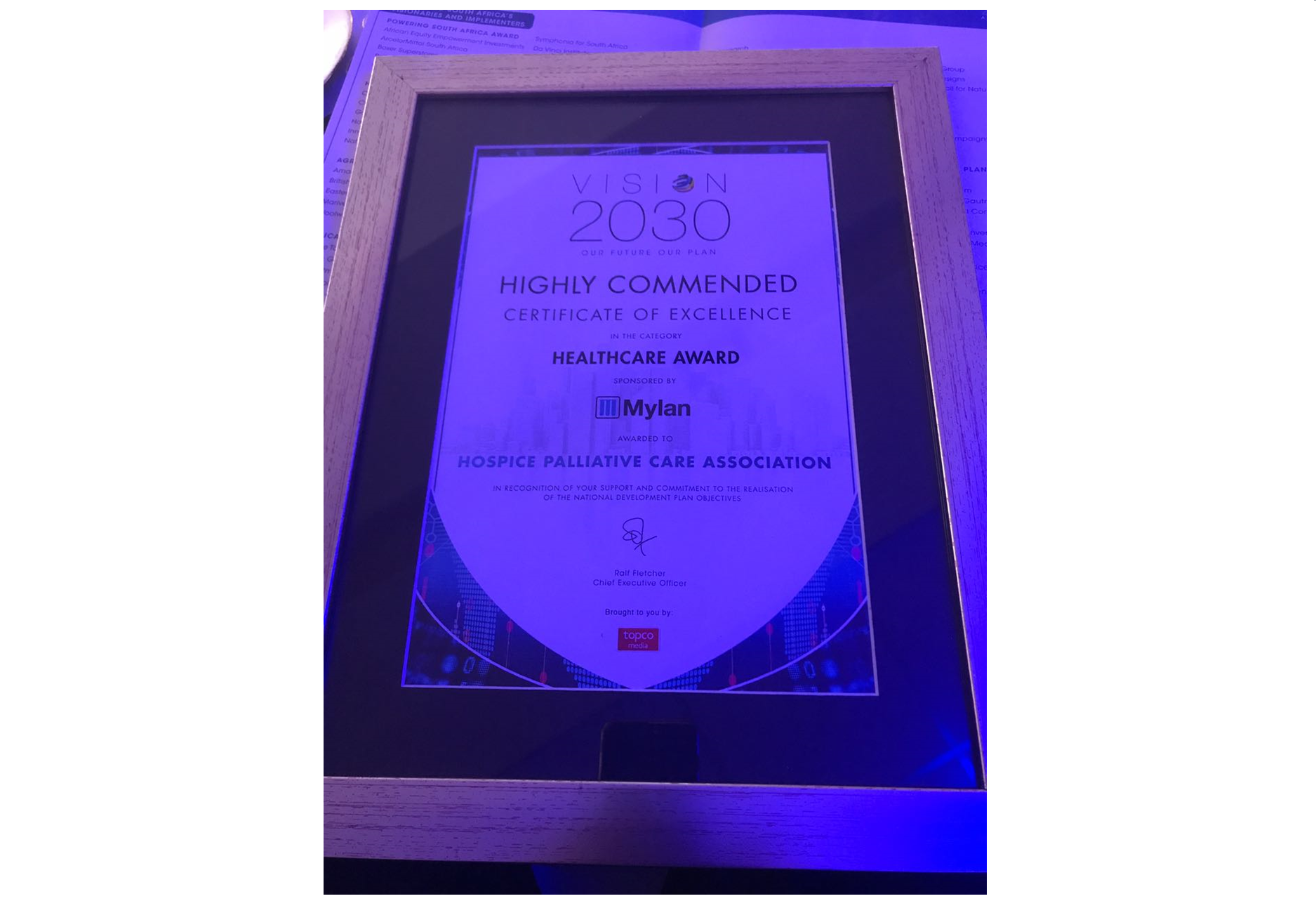 HPCA Receives Runners-Up Award at Vision 2030 Summit