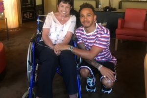 Photo 2 Katherine then had an exclusive meeting with Lewis Hamilton at his hotel suite on Tuesday 10th July