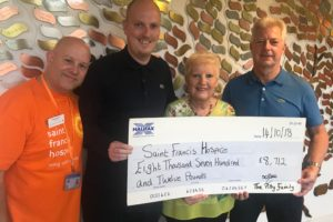 Andy Furneaux with Gary Terry and Sue Pitty with presentation cheque
