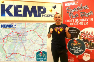 KEMP 1 Superhero Shaun Marshall with the Santa Cycle Ride route