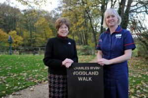 L2r Trustee Jacky Lane from the Charles Irving Charitable Trust with Debbie Williams head of clinical services  With a generous charitable donation from The Charles Irving Trust, the Sue Ryder Leckhampton Court hospice has installed a brand new all-weather wheelchair friendly walkway around the lake and a new secluded seating area for patients to enjoy the lake and wildlife. The Cotswold stone terrace has also undergone a complete refurbishment, with new railings and seating area, meaning patients and families can spend time outside together enjoying the views.  Both areas were officially opened by Cheltenham Mayor Bernard Fisher with  trustees from The Charles Irving Trust and hospice director Elise Hoadley.  Picture by Mikal Ludlow Photography  tel; 07855177205 12-11-18