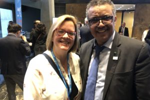 Dr Tedros, WHO Driector General, meets with Sharon Thompson, a mother with direct experience of palliative care
