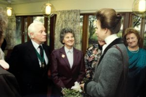 Princess Anne at the official opening of the Hospice with former Mayor o.._