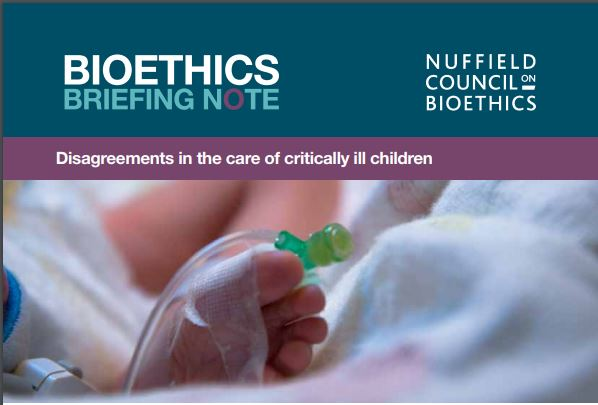 Briefing Note on disagreements in the care of critically ill children call for more timely referral to CPC services