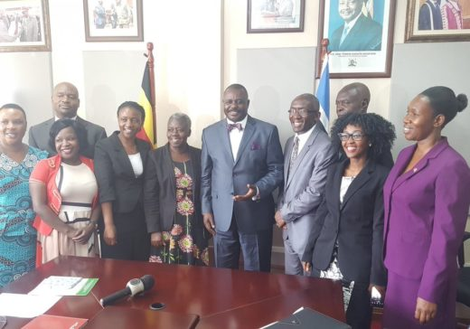 The Deputy Speaker of Parliament Rt. Hon Jacob Olanya (in the middle) with some members of the civil society. On his Right is Rose Kiwanuka, The Country Director of PCAU while on his Right is Dr Emmanuel Luyirika the Executive Director of The African Palliative Care Association (APCA) Extrem left in blue is Hon Ssentongo Robina Nakasirye, Kyotera, District Woman Representative in Parliament