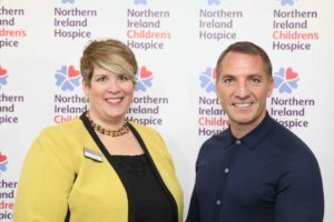 Sheila Duffy, Head of Partnership and Commercial Development at Northern Ireland Hospice and Leicester City manager Brendan Rodgers, a Northern Ireland Hospice Ambassador at a Business Breakfast in Northern Ireland Hospice this week