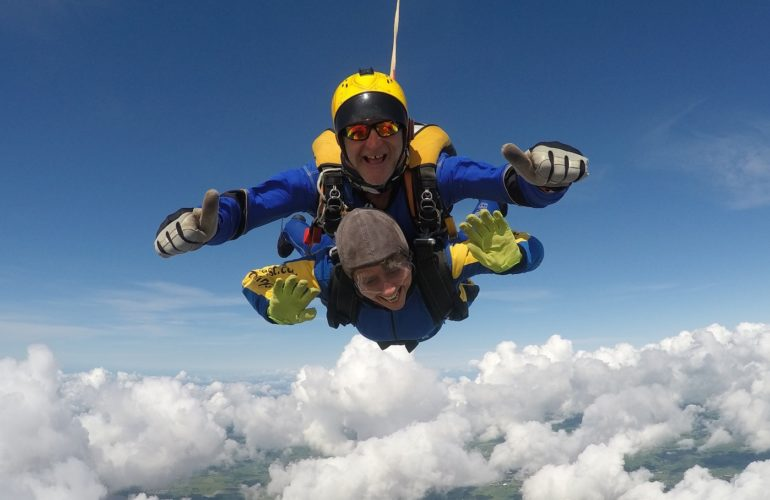 Hospice supporter raises over £100k thanks to skydive