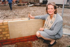 Photo 2 Baroness Jay of Paddington lays the foundation stone of the St Clare Inpatient Unit in 1998-min