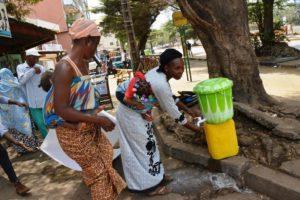 Women washing hands Africa