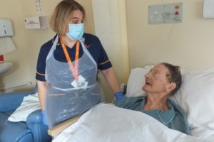 Linda Cahill with patient