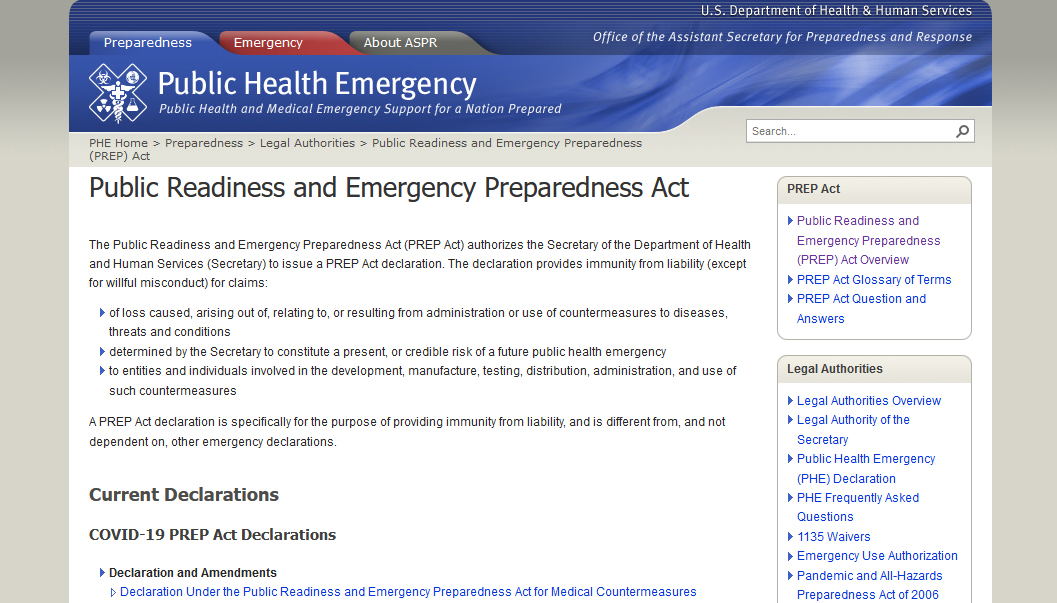 HHS Amends PREP Act Declaration, Including to Expand Access to COVID-19 Countermeasures Via Telehealth