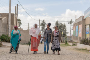 From left to right, Paliative care patient Fantaye Ayele, Tsegenet Asefa, Sister Kalkidan Sisay and palliative care paitent Kalkidan Abera walk around Hospice Ethiopia in Addis Ababa. Jan 24,2020/Maheder Haileselassie/WHPCA