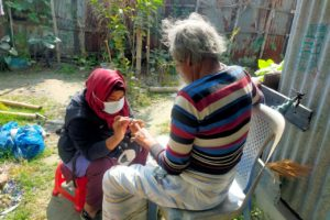 PCA Suriya Ahmed Chowdhury is providing home care to her patient Abdul